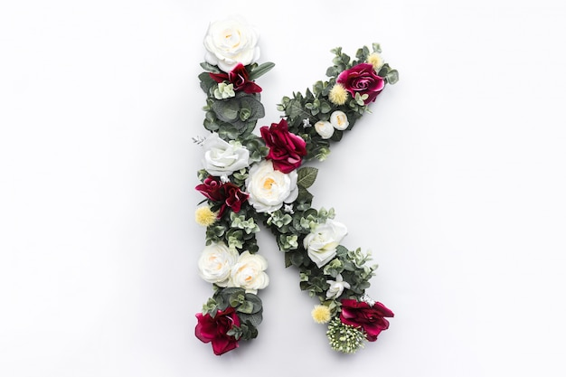 Flower letter k floral monogram free photo