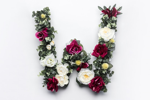 Flower letter w floral monogram