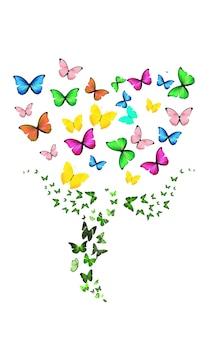 흰색 배경에 고립 된 비행 나비의 꽃. 고품질 사진