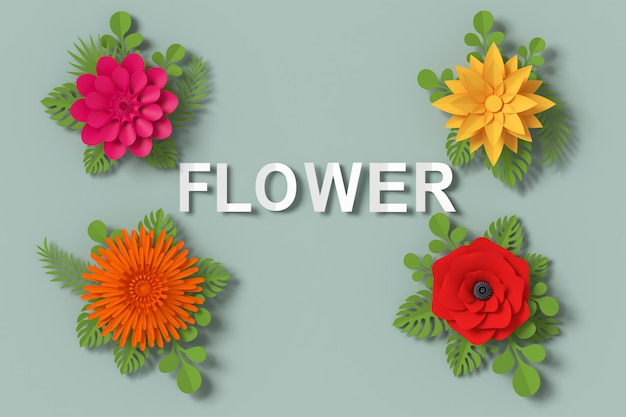 Flower paper style, 3d rendering