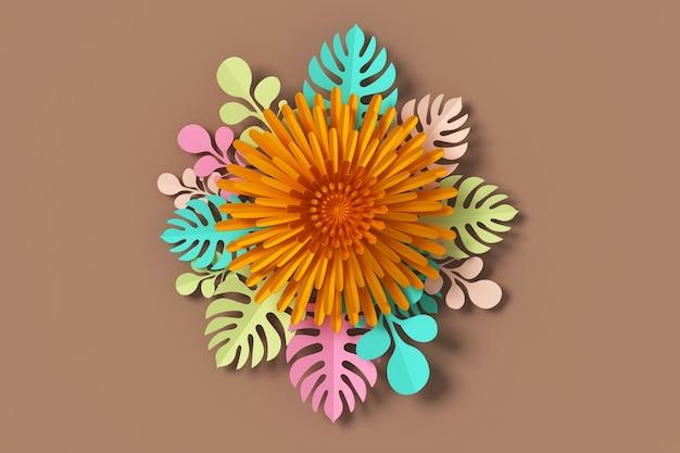 Цветочный стиль бумаги, бумага ремесла цветочный, 3d-рендеринг, с обтравочный контур.