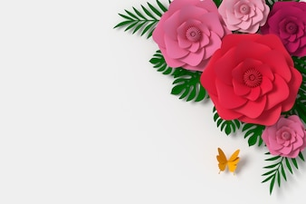 Flower paper style, paper craft floral, Butterfly paper fly, 3d rendering