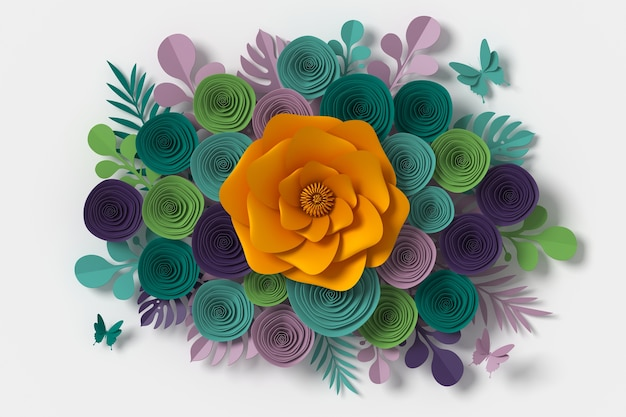Flower paper style, paper craft floral, butterfly paper fly