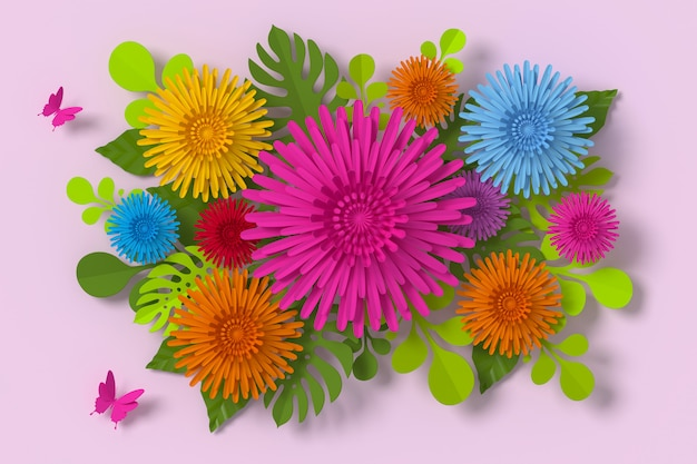 Flower paper style, paper craft floral, butterfly paper.