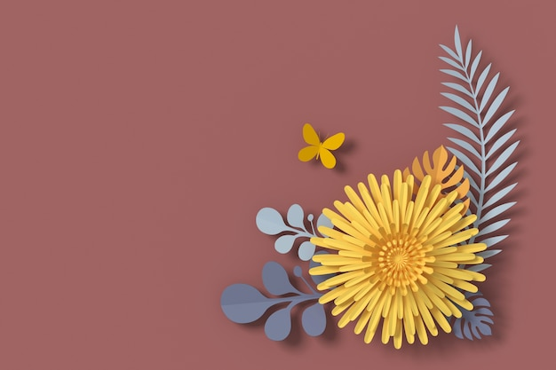 Flower paper style, papercraft floral, butterfly paper fly, 3d rendering