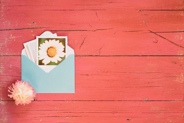 Flower photo in an envelope with copy space