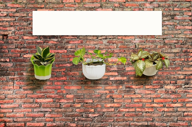 Flower pot with brick wall