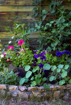 Flower pots as a decoration in the garden