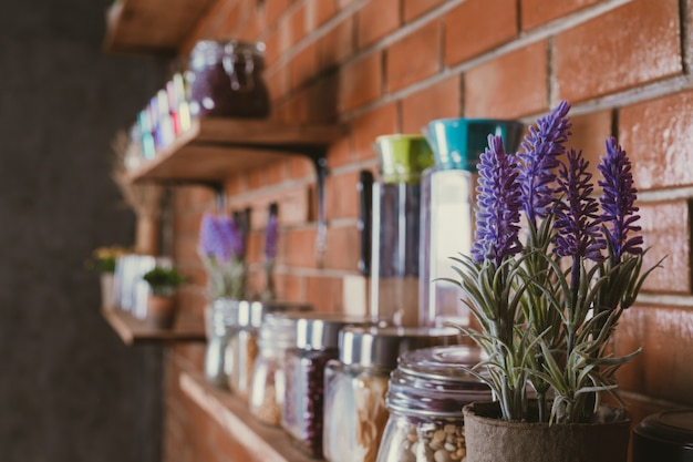 Flower pots on shelves