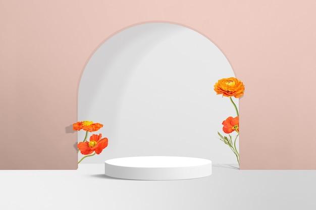 핑크에서 꽃 제품 배경