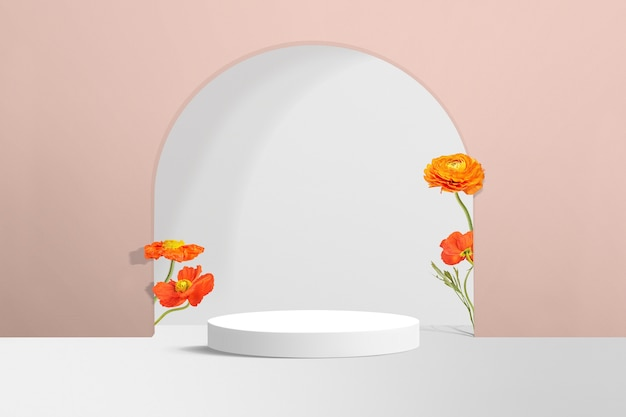 Flower product backdrop in pink