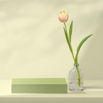 Flower product backdrop with tulip in green