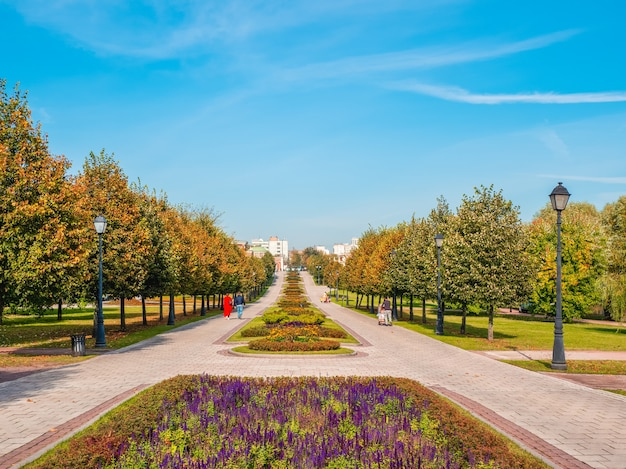 サマーパークの花陰の路地。ツァリツィノ。モスクワ。