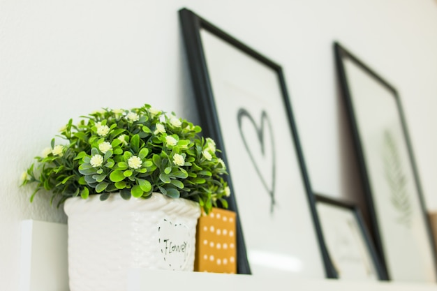 Flower on shelves with heart shaped photo frame.
