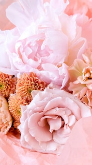 Flower shop with holiday beautiful flowers. bouquet of flowers closeup