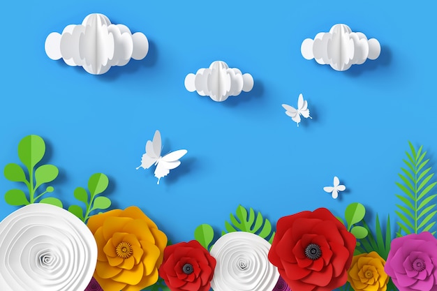 Flower and sky paper style, 3d rendering