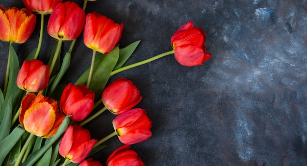 Flower spring bouquet of red tulips background