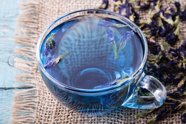 Flower tea of butterfly pea (pea flowers)