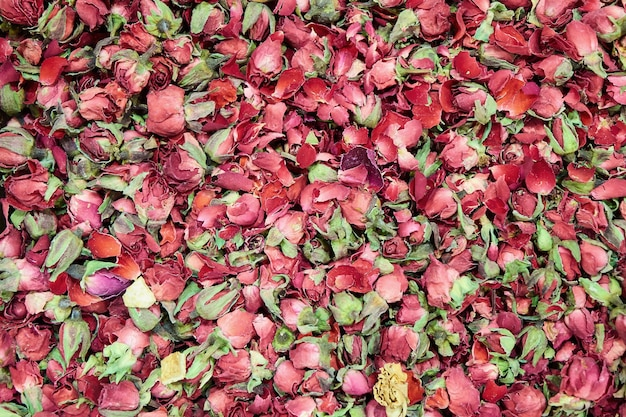 花茶、乾いた花びら、バラのつぼみ