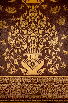 Flower traditional thai style painting on brown blackground