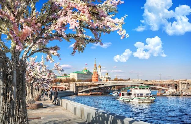 クレムリンのモスクワ川の堤防にある花の木とモスクワの川にある船