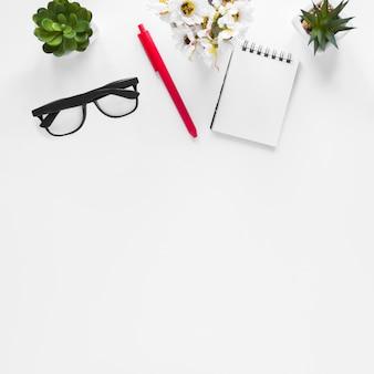 Flower vase; cactus plant; eyeglasses; pen and spiral notepad on white background