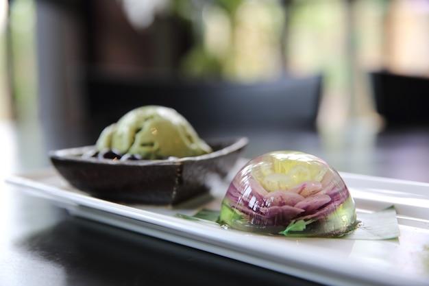 Flower water cake the water drop dessert mochi mizu shingen mochi with green tea ice cream