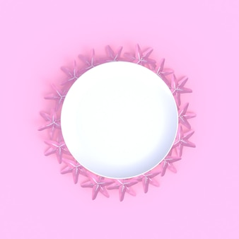 Flower with blank white dish abstract minimal pink background