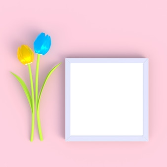 Flower with blank white picture frame abstract minimal pink background