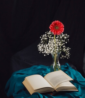 Flower with bloom twigs in vase near volume and blue textile in darkness