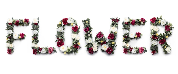 Flower word made of flowers on white