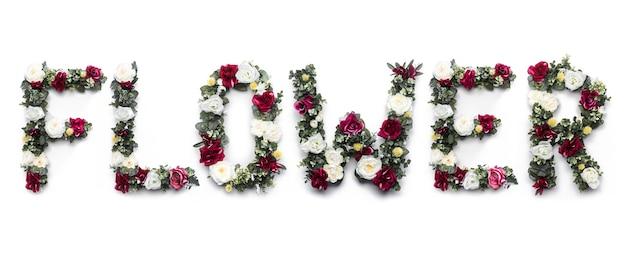 Цветочное слово из цветов на белом
