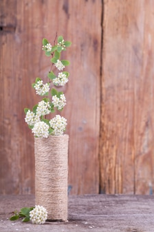 Flowering branches in a vase on a wooden texture. japanese style wabi sabi. home decor