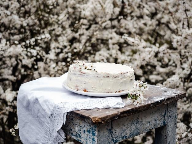 Flowering tree and fresh, homemade cake. close-up