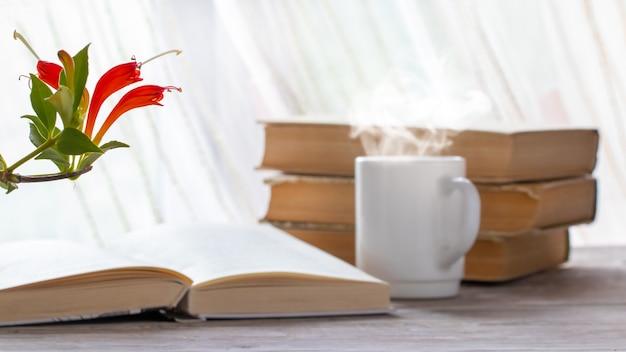 本の近くに赤い花とお茶のカップと植木鉢