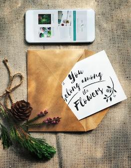Концепция цветов и поздравительных открыток