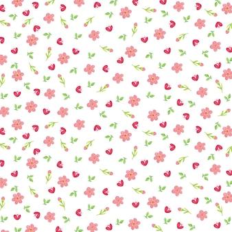 花と葉の春のパターン画像