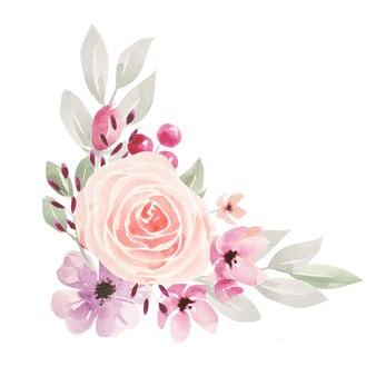 꽃과 잎 수채화 일러스트