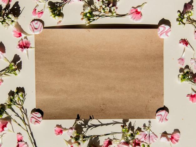 Цветы и бумага на белом фоне. вид сверху