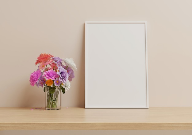 Flowers are put in a vase and white picture frame placed on wood table. 3d render.