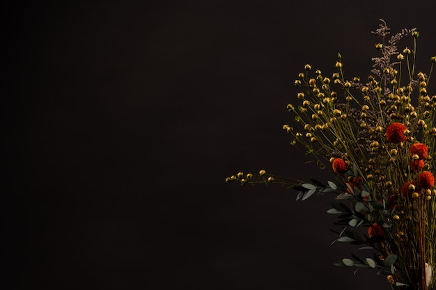 Flowers on black background