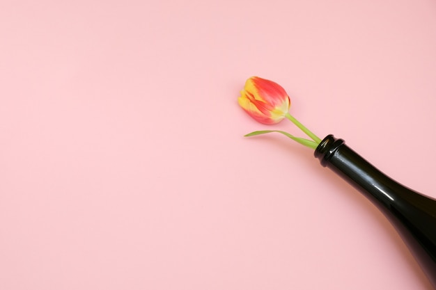 Flowers in the bottle on a tenderness pink background.. the concept of the anniversary