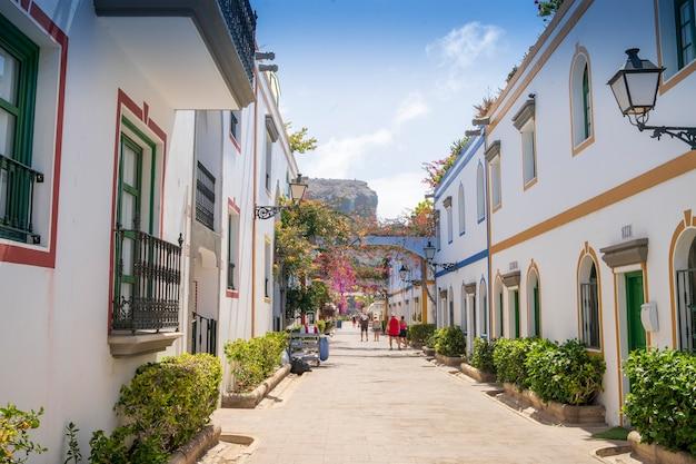 Gran canarias의 mogan 항구에서 바라본 꽃, 건물 및 일반적인 전망