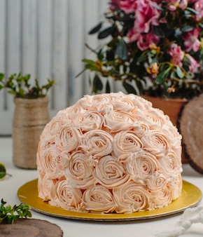 Flowers cake on the table