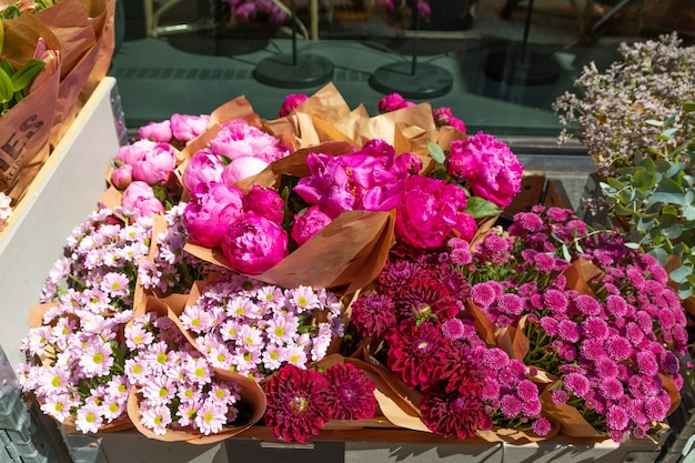 Flowers composition. beautiful colorful flowers in flower shop