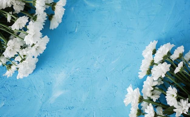 Композиция цветов. цветок ромашки на синем