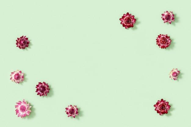 꽃 조성. 말린 된 화려한 꽃으로 만든 프레임입니다.