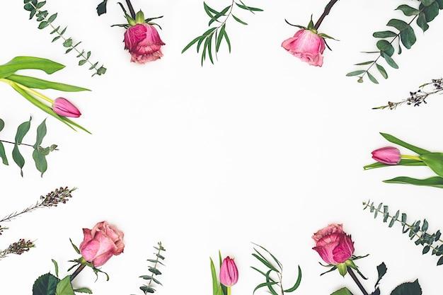 Композиция цветов. рамка сделанная из розовых цветков и ветвей евкалипта на белой предпосылке. день святого валентина, день матери, женский день, концепция пасхи