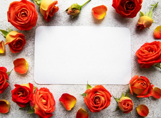 Flowers composition frame made of red  roses