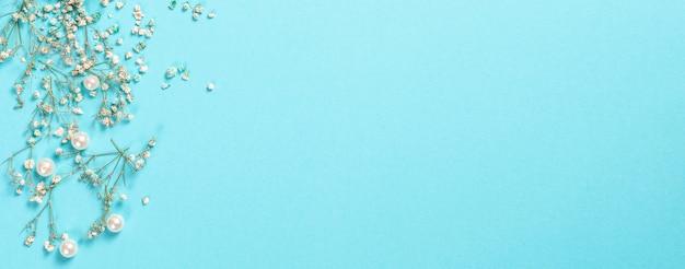 Композиция цветов гипсофилы цветы на пастельно-синем фоне плоский вид сверху копией пространства